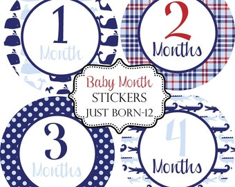 Boys Preppy Gator Whale, Monthly Baby Stickers Make Great Baby Shower Gifts..Bonus Just Born Sticker Included