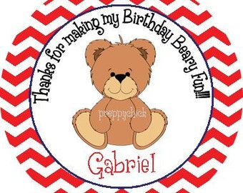 Beary Fun Boys Chevron Birthday Round Labels Stickers, Gift Tags, Party Favors, or Address Labels