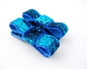 Blue Hair Clips, Glitter Tuxedo Bow Clips, Baby Hair Clips, Toddler Girls Mini Snap Clips, Small Barrettes