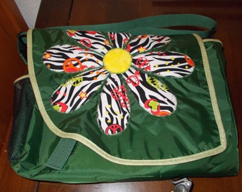 Appliqued green messenger bag