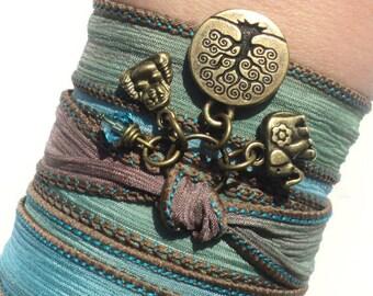 Bohemian Silk Wrap Bracelet Yoga Jewelry Buddha Tree of Life Boho Ganesha Earthy Unique Gift For Her Under 50 Item V49