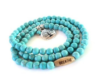 Breathe Wrap Bracelet, Yoga, Jewelry, Turquoise, Necklace, Tree of Life, Spiritual, Healing, Meditation, Unique, Gift For Her, Item G8