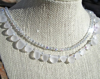 CLEARANCE, Reduced 40%, Crystal Statement Necklace, Clear Crystal, Frosted White Crystal, Sparkly Bridal Necklace, Double Strand  092