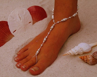 Barefoot Sandal - Simply Elegant  White Pearls and Silver Beads III