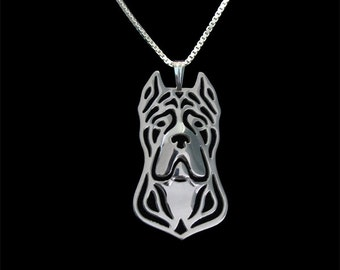 Cane Corso (cropped ears) - sterling silver pendant and necklace