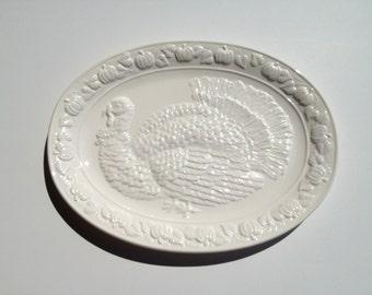 Turkey Embossed Serving Platter Holiday Dinner White Ceramic Over & Back Japan
