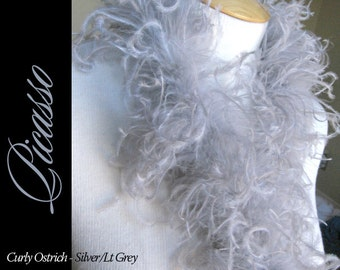 1ft (12inch) LT GREY Boutique Curly Ostrich feathers marabou for curly ostrich puffs, hair clips, beanies, kufis, angel wings,