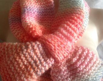 Unique hand knitted/crochet ascot scarf, peach multicolour handmade soft scarf