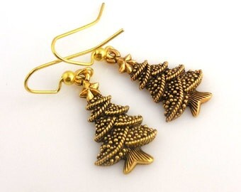 Gold Christmas Tree Earrings, Holiday Earrings, Holiday Jewelry, Gifts, Christmas