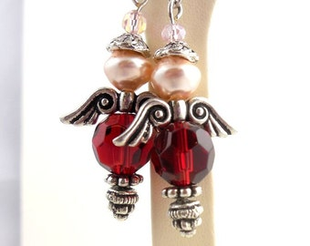 Red and Silver Angel Earrings, Beaded Earrings, Dangle Earrings, Holiday Jewelry, Gifts for Her
