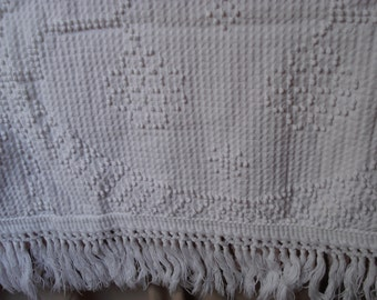 Vintage Hobnail Bedspreads Twin Crown Crafts Thomas Jefferson Bed Covers White Set of 2 Vintage