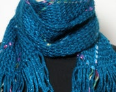 Scarf Handwoven Women's Fun Fashion Scarf Teal Blue Fine Acrylic Nylon Blend with Nylon Ribbon Diamond Motif - Shawltique