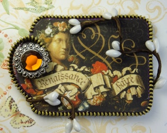 Renaissance Faire Tag, Festive, Felt, Zipper, Brooch, Pin, Coat, Sweater, Hat
