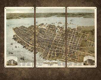 "Vintage Map of Charleston Metal Triptych 36x24"" FREE SHIPPING"