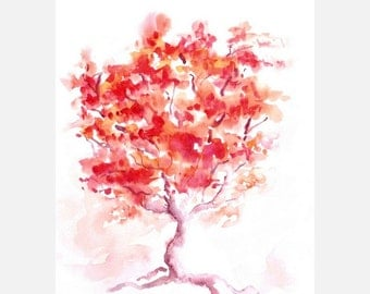Abstract tree original watercolor painting
