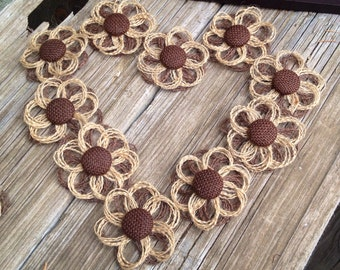 Mini Burlap Daisies - Set of 10 - DIY Rustic Wedding Supplies - Country Western Wedding - Burlap Flowers