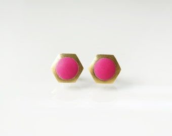 Dark pink geometric hexagon circle stud earring -Small-