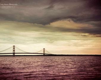 Mackinaw Bridge Photograph, Michigan, Bridge Photo, Mackinaw Island, Photography
