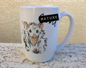 Dirty Dishes-- Opossum Mug--mature - coffee - coffee mug - possum - tea - tea mug - animal - illustration - coffee lover