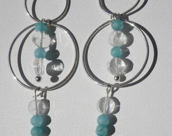 Aquamarine Hoop Dangle Earrings
