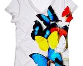 woman butterfly print top, t shirt and tank(77) XXS-PLUS SIZE
