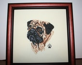 Cross Stitched Full Face Pug.