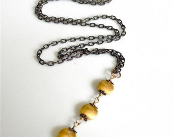 24k Gold Vermeil Nuggets Necklace with Oxidized Sterling Silver/  Mixed Metal/ Layering Necklace/ 24 K Gold Brushed Coins