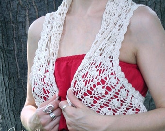 Natural Lace VEST / Crocheted Shrug / Elegant Handmade Bolero / OOAK Cotton Sleeveless Bolero / Hippie Vest / Boho Chick Tank