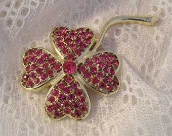 Pink Rhinestone Brooch Clover Leaves Vintage Sarah Coventry Gold Tone Jewelry Good Luck Charm 4 Leaf Clover