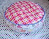 Children pouf cover Pink tartan pouf Pink round pillow Girls pouf White and pink round cushion Pink pouf Flowers pouf Lavender and white p