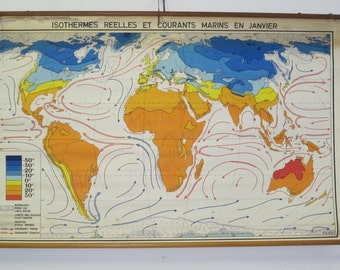 Vintage World Climate Map from Belgium