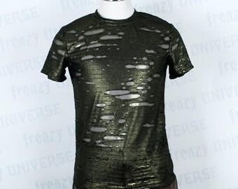 Green Metallic Zombie Fabric T-shirt
