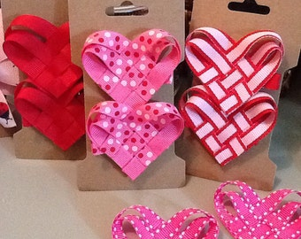Valentine Woven Ribbon Heart Clippies Set of 2