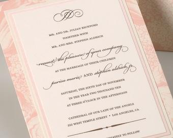 Blush Garden Wedding Invitation, Vintage Garden Wedding Invitation, Elegant Garden Wedding Invitation, Classic Wedding Invitation