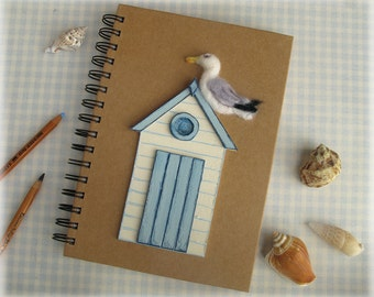 Seagull Notebook Beach Hut Holiday Journal Felted Herring Gull A5 Notepad MADE TO ORDER