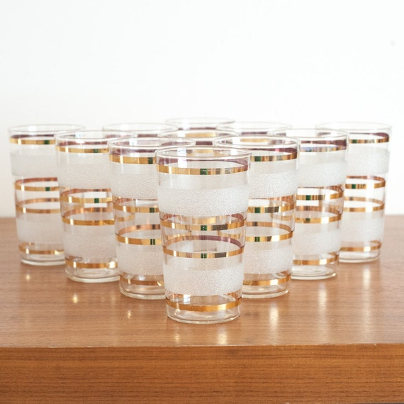Vintage gold and frosted glasses, set of 11, retro barware, vintage cocktail glasses, gilded glasses