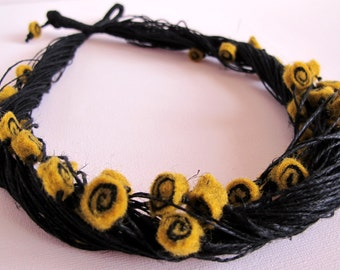 Felt Unique Black Linen String Necklace Honey and Black Sushi Swirl  Felted Beads Merinowool Boho