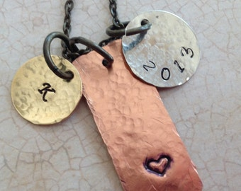 Mixed metal hand stamped graduation necklace. Mens Jewelry.Graduation jewelry.Vintage brass chain or leather cord with sterling silver hook.
