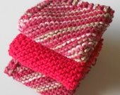 Knitted Cotton Dishcloths Red Mix