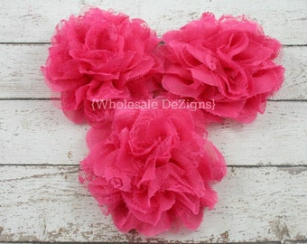 Hot Pink Chiffon and Lace Flower - Full and Fluffy - 4 inches Large 4""