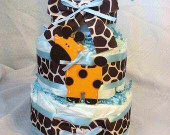 ADORABLE DIAPER CAKE - Baby Girl or Boy - Blue Ribbon Giraffe Theme Three Tier Cake Wow Your Friends