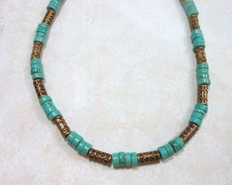 Turquoise Howlite and Copper Necklace