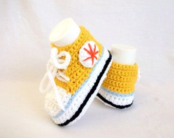 Yellow White Crocheted Converse Style Yellow and White Baby Booties-Converse Style Booties-Bootees-Shoes