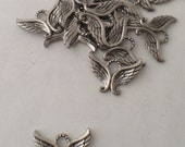 Angel Wings Charm, SILVER, Pewter,  Detailed, 2 Sided, Jewelry Supplies, Pendant