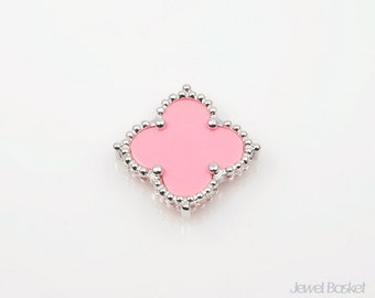 Pink Clover Pendant in Rhodium, 1piece of Pink Clover Necklace Pendant / 19mm x 19mm / SPKS050-P (1piece)