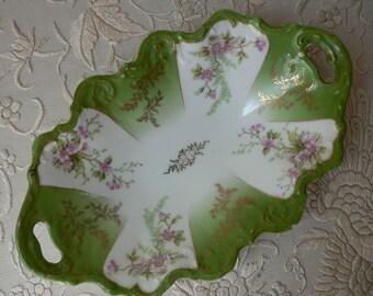 Austrian Green Pink Floral Handled Relish Dish Tray