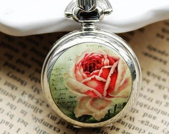 1pcs Rose  flower  pocket watch charms pendant  30mm SZ150