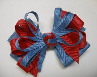 Chambray Blue Hair Bow School Uniform Red Boutique