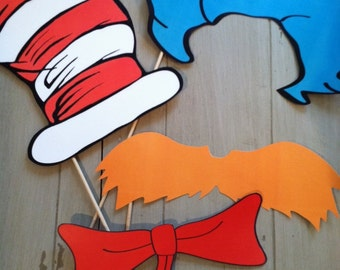 Cat in the Hat Photo Booth Props, Dr Seuss Photo Booth Props, Cat in The Hat Inspired Photo Booth Party Props