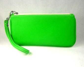 Vegan Leather Wristlet - Lime Green